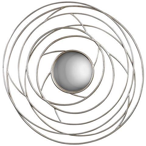 """Uttermost Othain Silver Leaf 41"""" Round Convex Wall Mirror"""