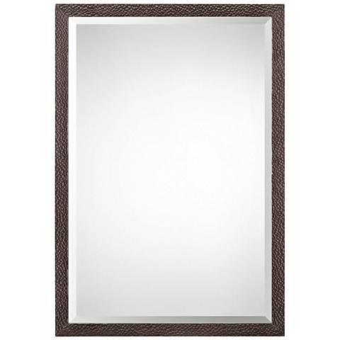 """Uttermost Michaela Silky Oak Veneer 22"""" x 32"""" Wall Mirror"""