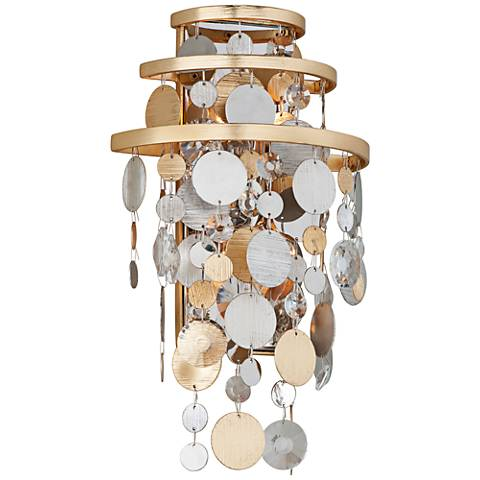 """Corbett Ambrosia 16"""" High Gold and Silver Leaf Wall Sconce"""