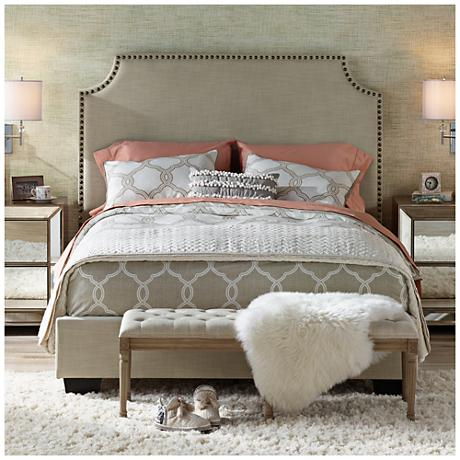 Newport Natural Linen Hand-Crafted Upholstered Bed