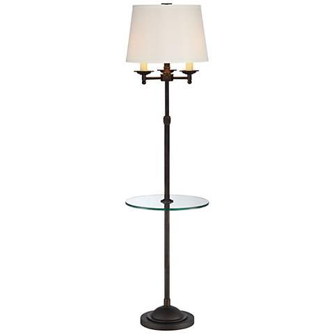 Quoizel Millington Oiled Bronze Tray Table Floor Lamp