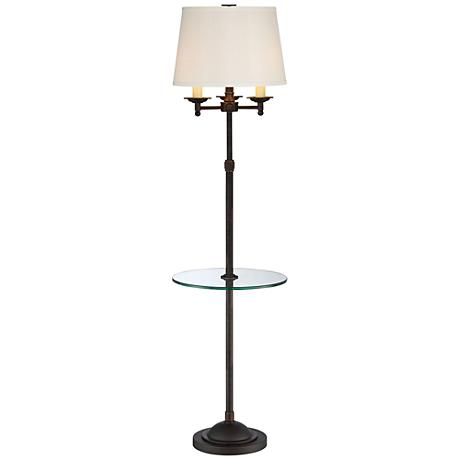 Quoizel Millington Oiled Bronze Tray Table Floor Lamp