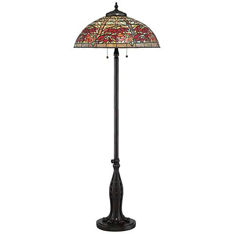 Quoizel Tiffany Style Red Maple Valiant Bronze Floor Lamp