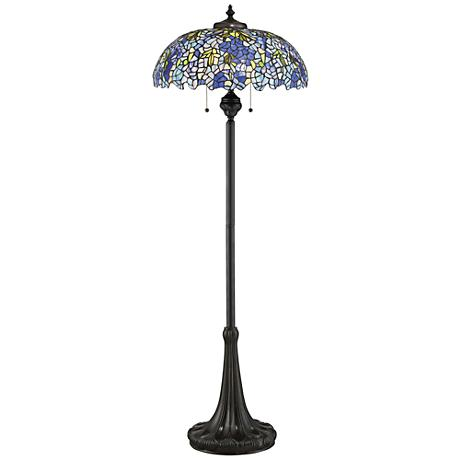 Quoizel Tiffany Style Royal Briar Art Glass Floor Lamp