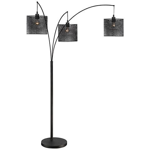 quoizel stargaze bronze black mesh 3 light arc floor lamp 9d337 lamps plus. Black Bedroom Furniture Sets. Home Design Ideas