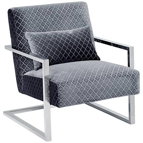 Zemo Diamond Gray Velvet Cantilever Accent Chair