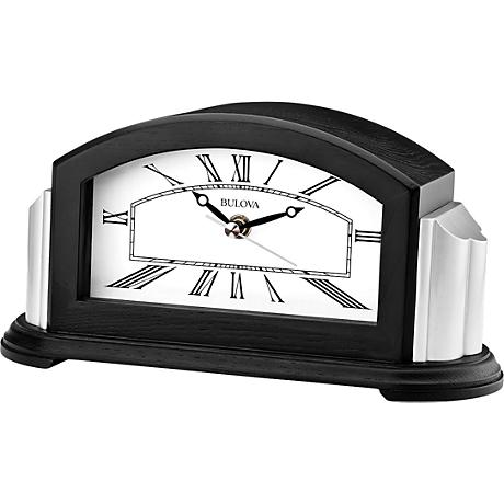 "Bulova Astor Ebony Oak 9 3/4"" Wide Bluetooth Table Clock"