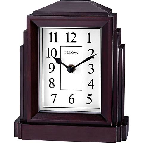 "Bulova Empire Espresso 7"" High Bluetooth Table Clock"