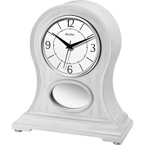 "Bulova Merrick Aged White 13"" High Bluetooth Table Clock"