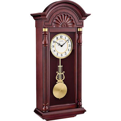 """Bulova New Yorker Mahogany 33 1/2"""" High Wall Clock"""