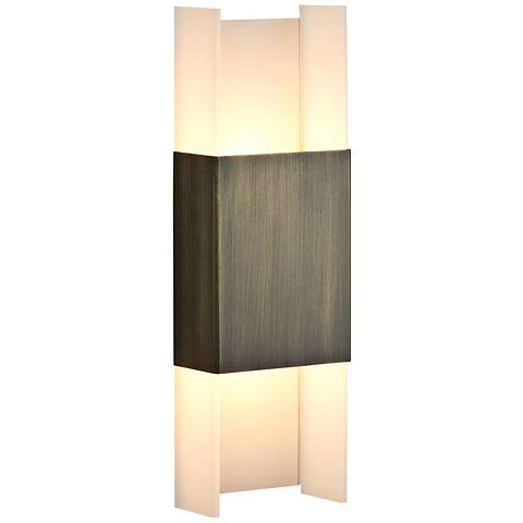 """Cerno Ansa 15 1/2"""" High Distressed Brass LED Wall Sconce"""