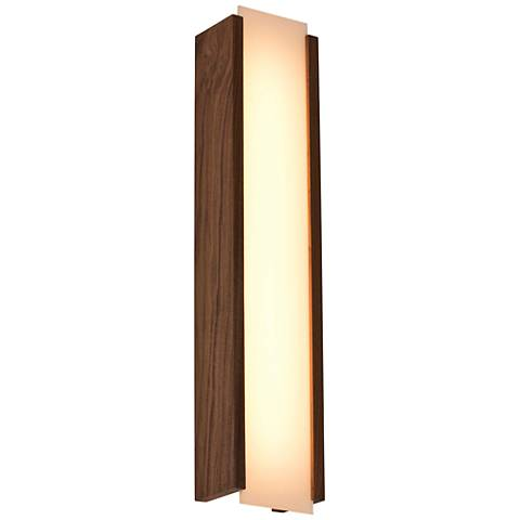 "Cerno Capio 28 1/2"" High Walnut LED Wall Sconce"