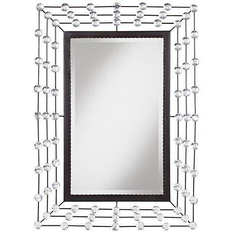"""Straz Glass Beaded 24""""x34"""" Black Wall Mirror"""