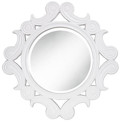 "Celeste White Gloss 30""x30"" Scalloped Wall Mirror"