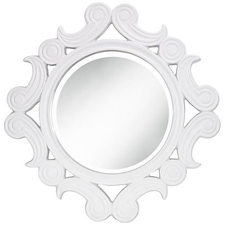 "Celeste White Gloss 30""x30"" Scalloped Wall Mirror"