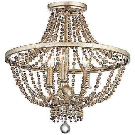 """Birkdale 16 1/4"""" Wide Sterling Gold 3-Light Ceiling Light"""