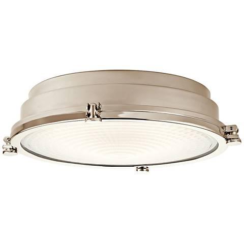 """Hatteras Bay 18"""" Wide Polished Nickel LED Ceiling Light"""