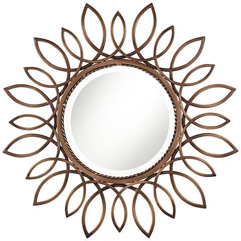 """Soleil Copper 30"""" Round Sunburst Wall Mirror"""