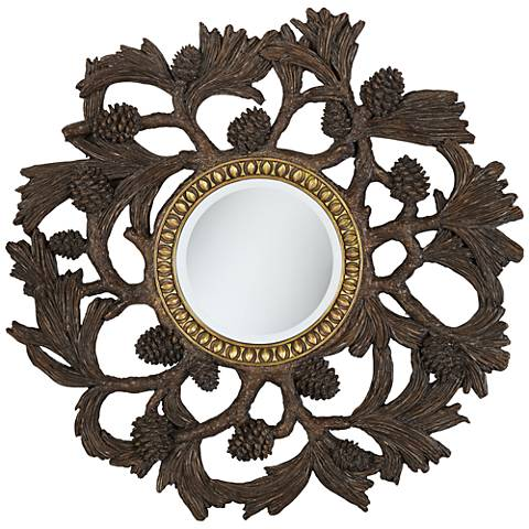 "Pinyon Ridge Brown 31 1/2"" Round Wall Mirror"