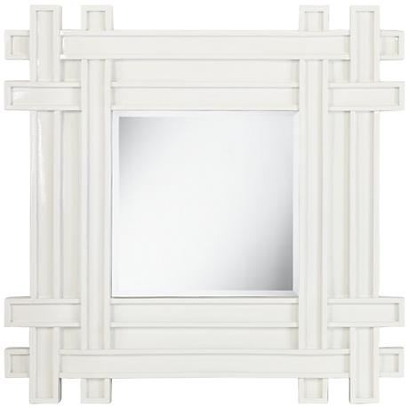 """Intersection Glossy White 31 1/2"""" Square Wall Mirror"""