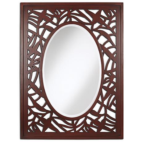 """Beach Leaf Merlot 30"""" x 40"""" Wall Mirror"""