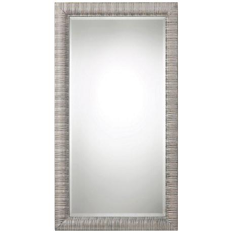 Abenaki ivory gray 37 1 2 x 67 1 2 full length mirror for Gray full length mirror