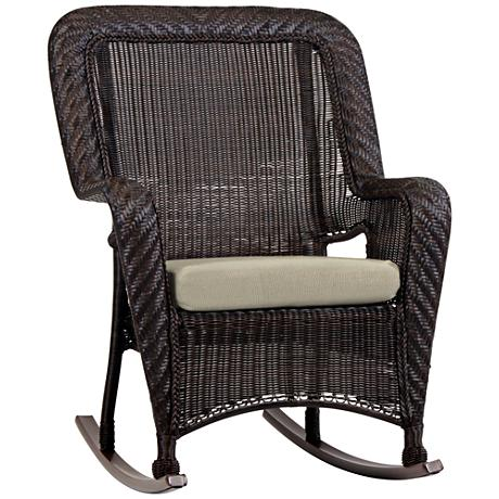 Key West Solar Linen Chocolate Outdoor Rocking Armchair