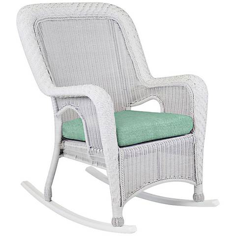 Key West Mist Rustic White Outdoor Rocking Armchair
