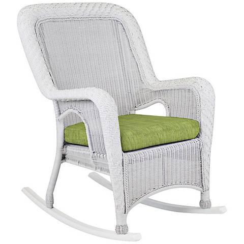 Key West Trinidad Leaf White Outdoor Rocking Armchair