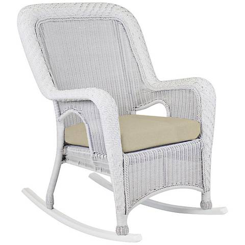 Key West Solar Linen Rustic White Outdoor Rocking Armchair