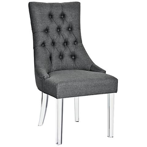 Sonya Carbon Gray Fabric and Acrylic Dining Chair
