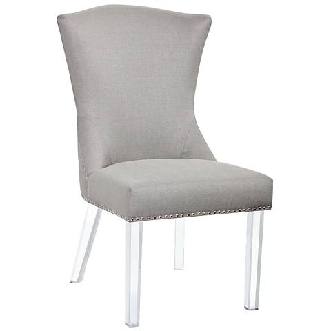 Sienna Stone Gray Fabric and Acrylic Dining Chair