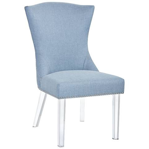 Sienna Ice Blue Fabric and Acrylic Dining Chair