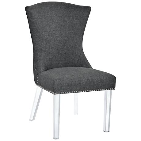 Sienna Carbon Gray Fabric and Acrylic Dining Chair