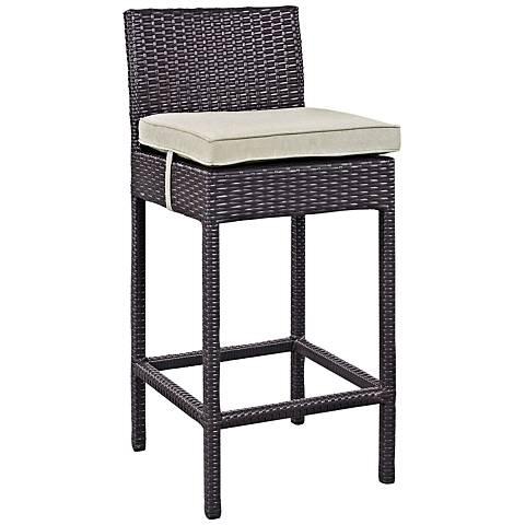 "Lift 27 1/2"" Beige Fabric Espresso Outdoor Patio Barstool"
