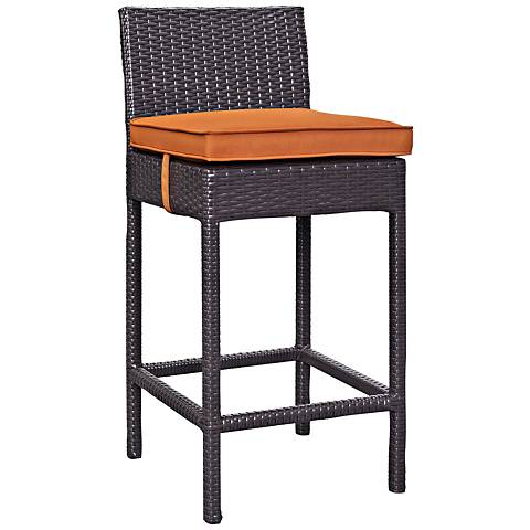 "Lift 27 1/2"" Orange Fabric Espresso Outdoor Patio Barstool"