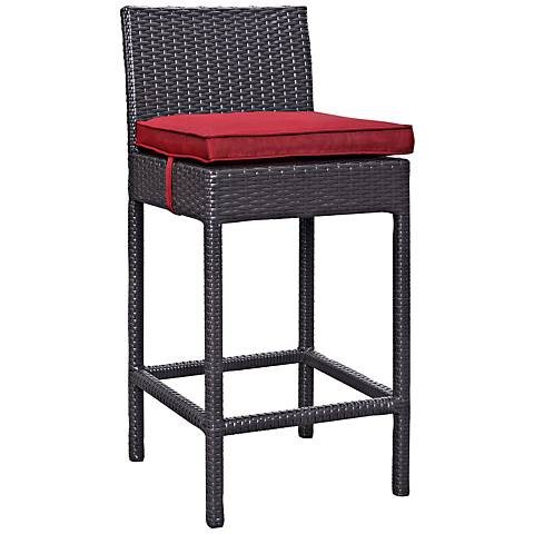 "Lift 27 1/2"" Red Fabric Espresso Outdoor Patio Barstool"