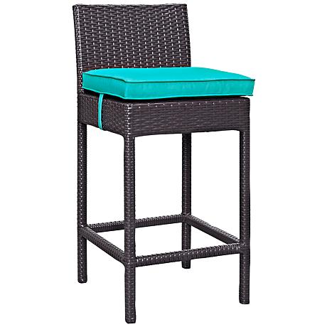 """Lift 27 1/2"""" Turquoise and Espresso Outdoor Patio Barstool"""