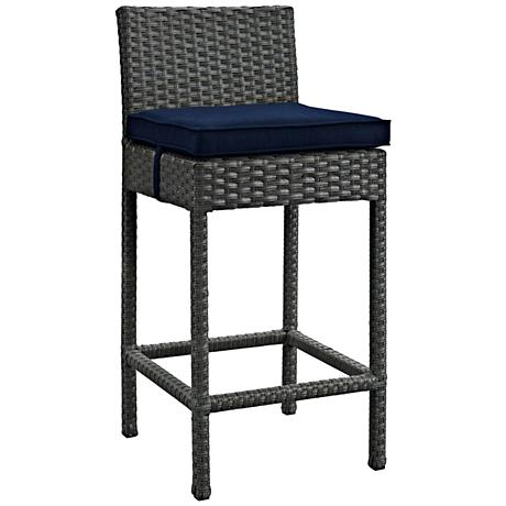 """Sojourn 27 1/2"""" Canvas Navy Fabric Outdoor Patio Barstool"""