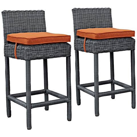"Summon 28"" Canvas Tuscan Outdoor Patio Pub Stool Set of 2"