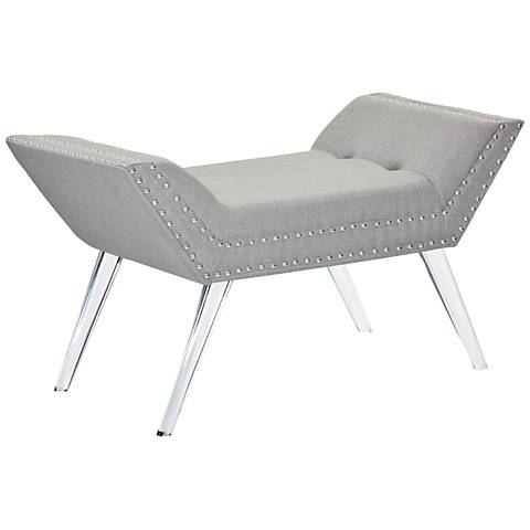 Vogue Stone Gray Fabric and Acrylic Bench