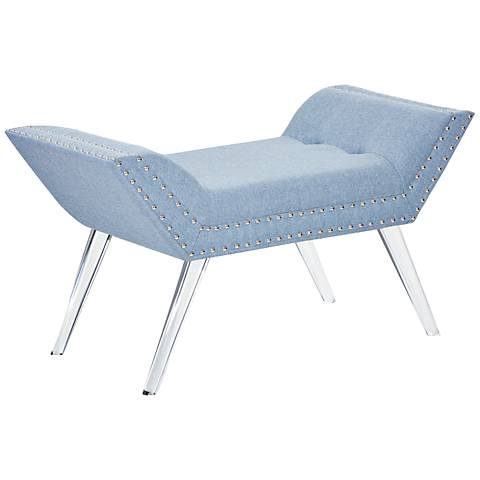 Vogue Ice Blue Fabric and Acrylic Bench