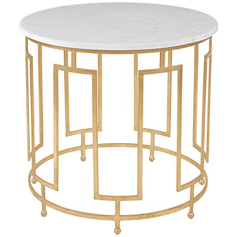Caldwell Art Deco Gold Leaf Round Accent Table