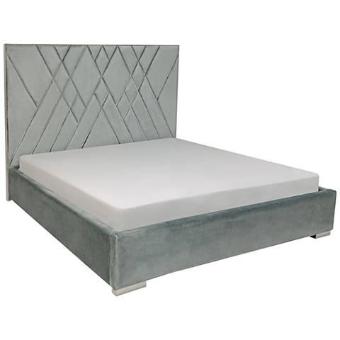 Bermudez Silvery Blue Velvet Queen Bed