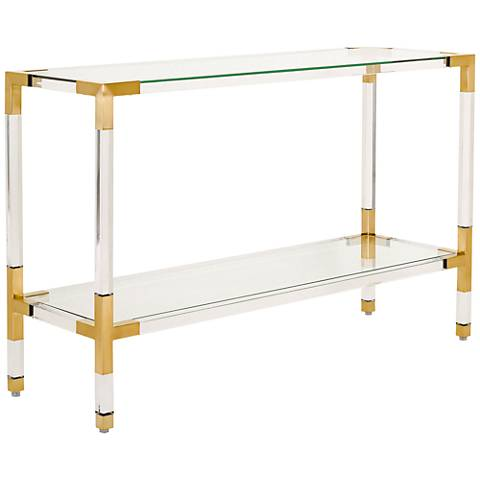 Arverne Brass Steel and Clear Glass Console Table