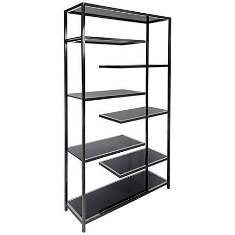 vaughn polished black glass 6 shelf modern etagere 9f102 lamps plus. Black Bedroom Furniture Sets. Home Design Ideas