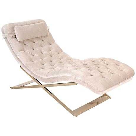 Nampa Champagne Tufted-Velvet Indoor Chaise Lounge