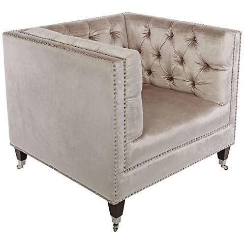 Miller Pearl Velvet Hollywood Glam Tufted Square Armchair