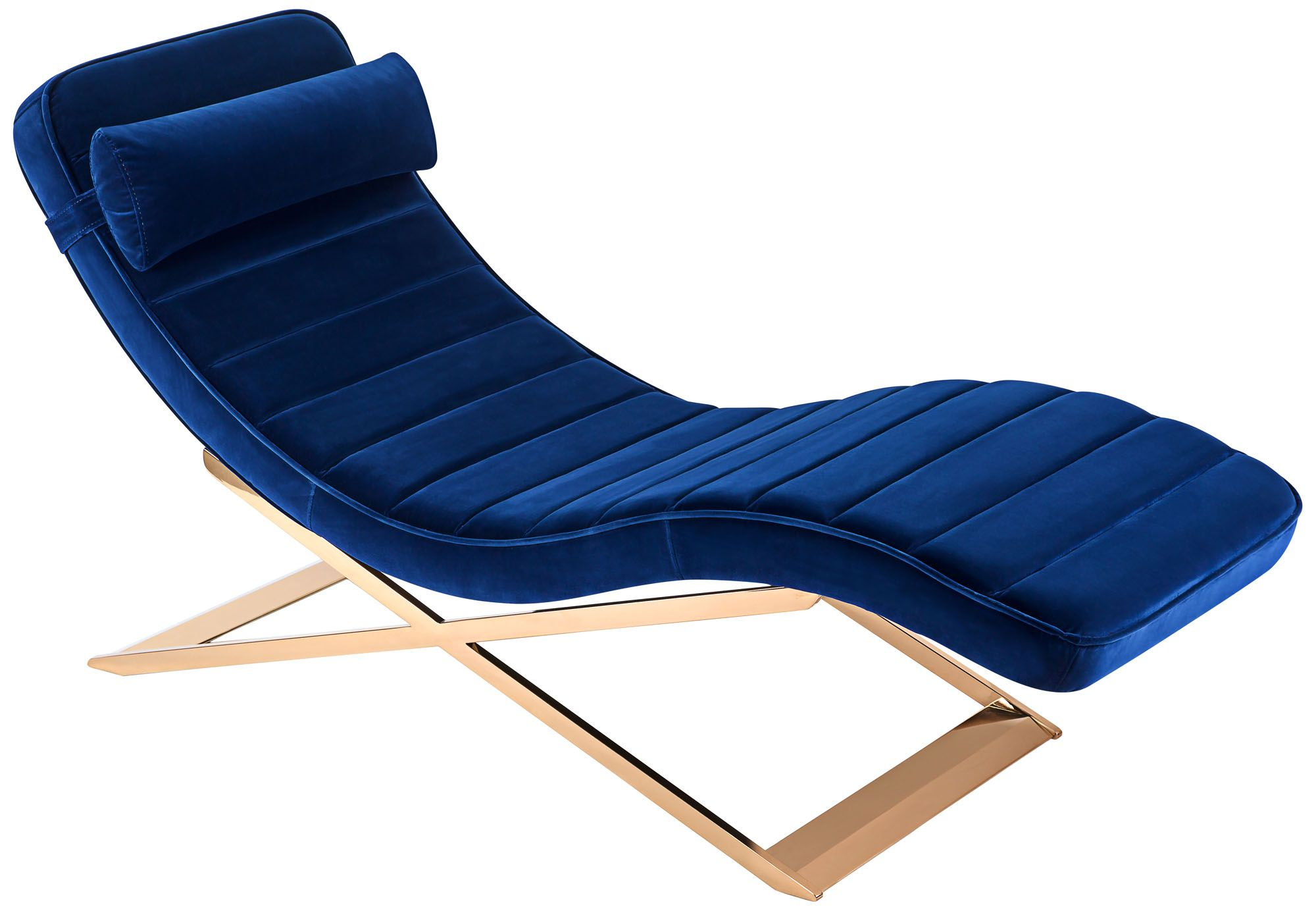mandalay navy tufted velvet indoor chaise lounge