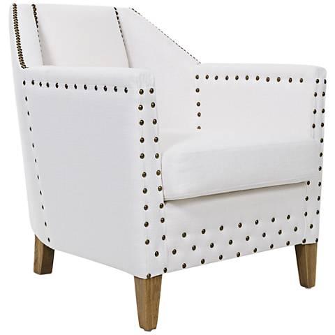 Mandeville White Linen Deco-Modern Armchair